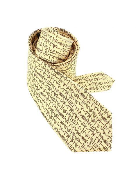 Cravate en soie, Hiéroglyphes Egyptiens, beige Brochier Soieries 1890 Cravates