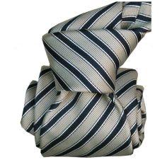 Cravate Segni Disegni LUXE MOGADOR, Faite main. Rayée marine et gris
