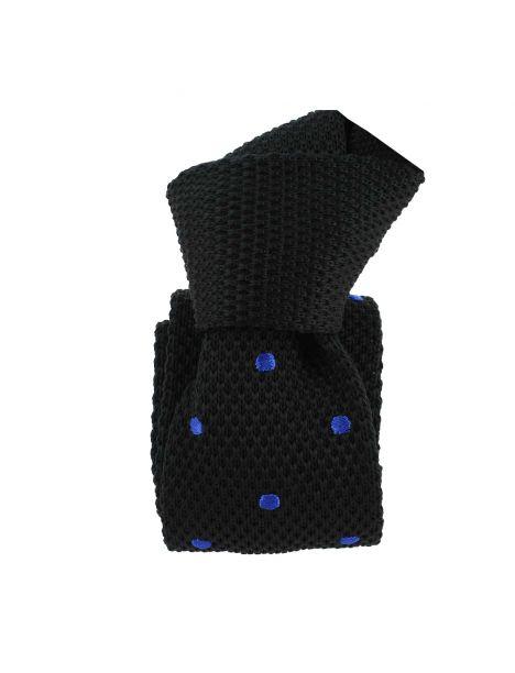 Cravate Tricot. Noir et bleu Preppy Clj Charles Le Jeune Cravates
