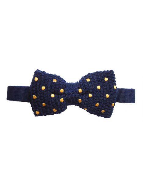 Noeud papillon tricot, laine, marine à pois jaune Tyler & Tyler Noeud Papillon