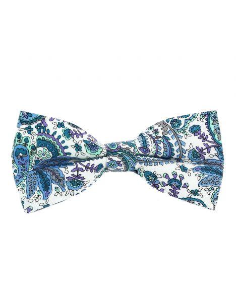 Noeud Papillon, coton, fleurs bleu blanc Clj Charles Le Jeune Noeud Papillon