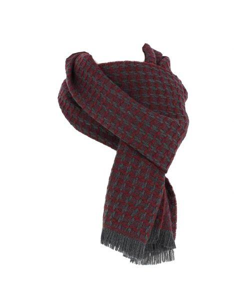 Echarpe carreaux en laine d'Australie, Highland bordeaux