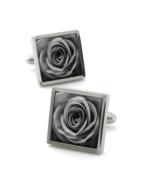 Boutons de manchette, Rose unique grise