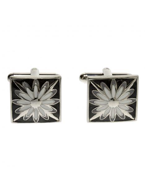 Boutons de manchette, Flower grey white
