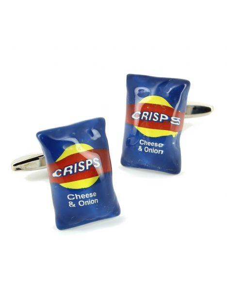 Boutons de manchette, paquet de chips bleu Cravate Avenue Signature Bouton de manchette