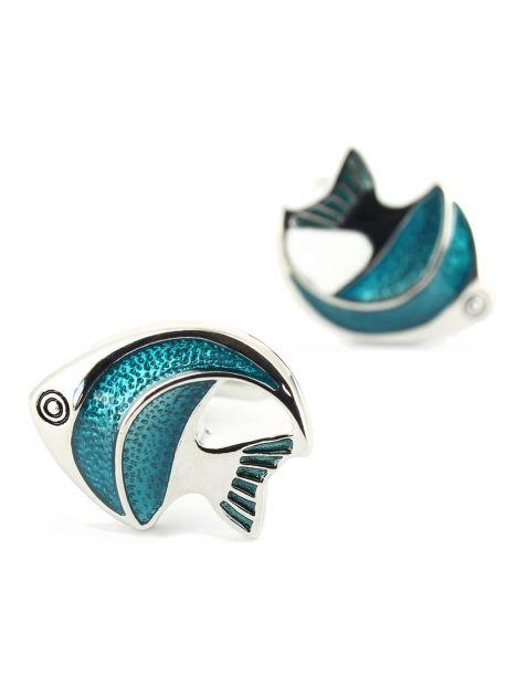Boutons de manchette poissons bleu Tony & Paul Bouton de manchette