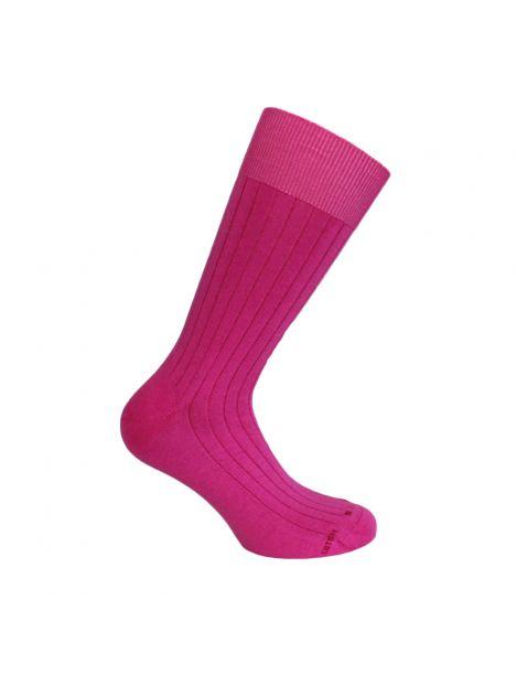 Mi chaussette uni à cotes pur coton, Rose Fuchsia Labonal Chaussettes
