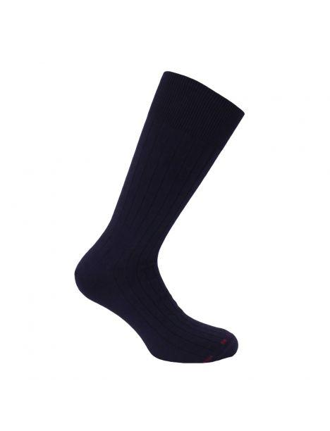 Mi chaussette uni à cotes pur coton, Marine Labonal Chaussettes