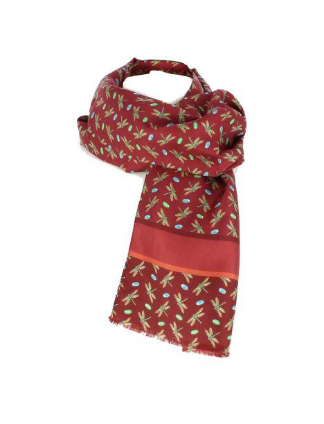 Echarpe en soie, Tiffany Dragon fly, Rouge Brochier Soieries 1890 Echarpes et chèches