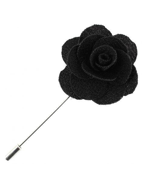 Boutonnière noire, rose sauvage Cravate Avenue Signature Boutonnières