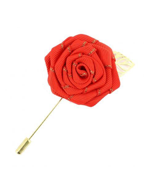 Boutonnière rouge, rose feuille dorée Cravate Avenue Signature Boutonnières