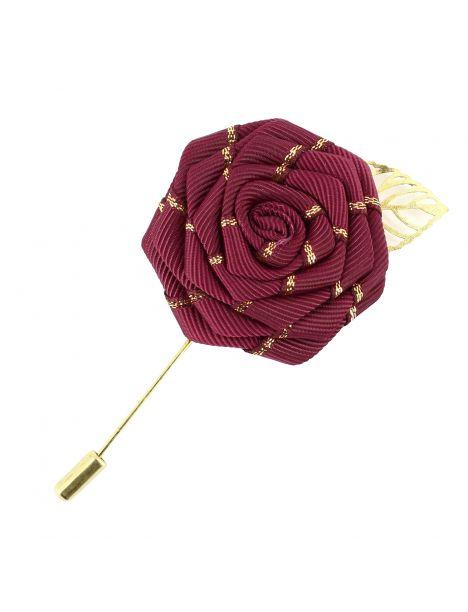 Boutonnière bordeaux, rose feuille dorée Cravate Avenue Signature Boutonnières