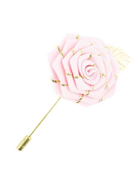 Boutonnière rose, rose feuille dorée Cravate Avenue Signature Boutonnières