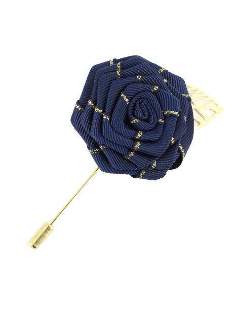 Boutonnière bleu marine, rose feuille dorée Cravate Avenue Signature Boutonnières
