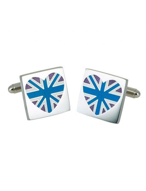Boutons de manchette, Blue union jack heart, GB Collection