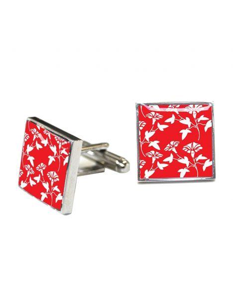 Boutons de manchette, Victorian Wallpapaer-Jasper, RED