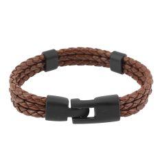 Bracelet tressé, trio, brun