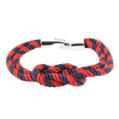 Bracelet corde, noeud marin, navy et rouge