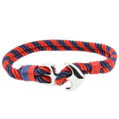 Bracelet ancre nautique, rouge et bleu