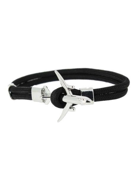 Bracelet noir avion de ligne gris Clj Charles Le Jeune Bracelets Homme