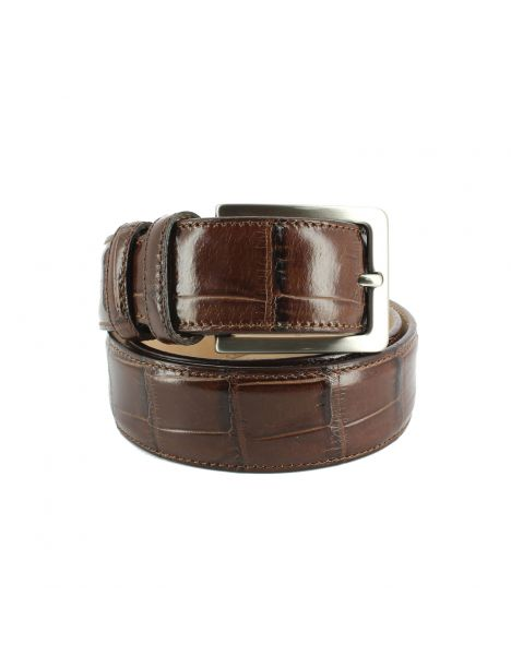 Ceinture cuir, Croco, 35mm, Marron, bords surpiqués Robert Charles Ceintures