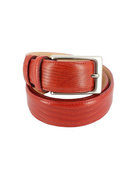 Ceinture cuir, Serpent rouge, 35mm bords surpiqués Robert Charles Ceintures