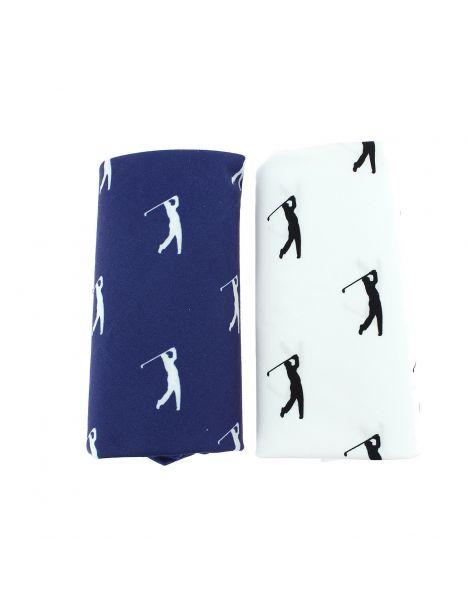 Set de 2 mouchoirs brodés. Golfeurs Cravate Avenue Signature Pochettes