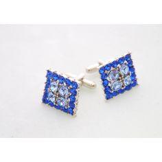 Bouton de manchette SHEFALY - EREBUS Bleu, Cristal Swarovski