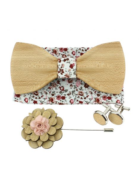 Coffret Liberty rosé. Noeud papillon en bois avec 3 accessoires. Tony & Paul Noeud Papillon