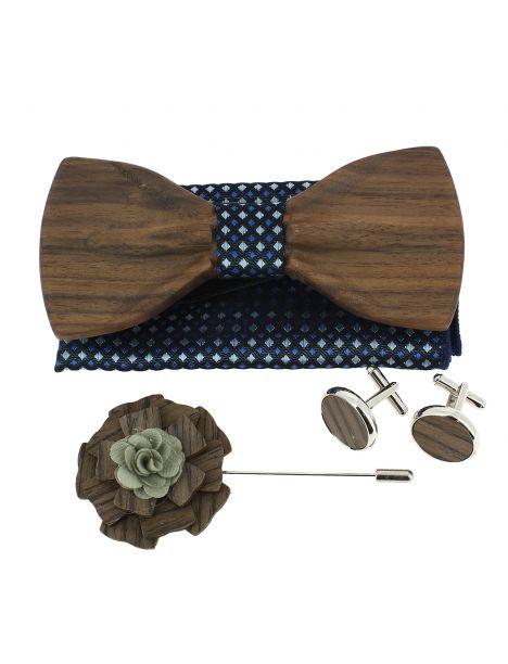 Coffret Hipster Bleuet. Noeud papillon en bois avec 3 accessoires. Tony & Paul Noeud Papillon