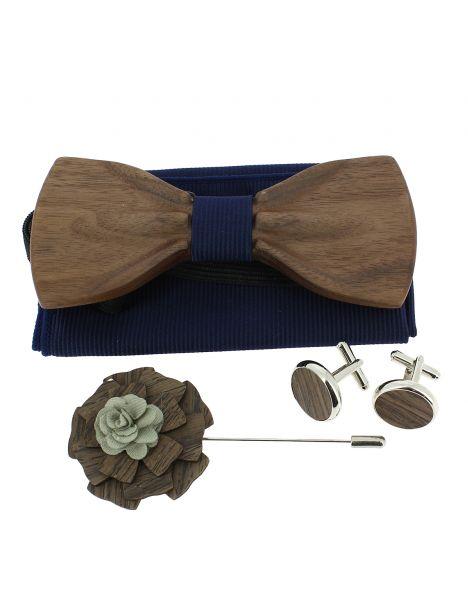 Coffret Hipster Marina. Noeud papillon en bois avec 3 accessoires. Tony & Paul Noeud Papillon