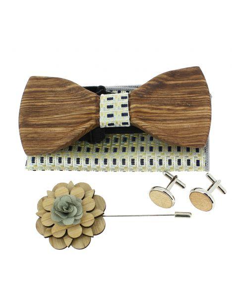 Coffret Manhattan Jaune et bleu. Noeud papillon en bois avec 3 accessoires. Tony & Paul Noeud Papillon