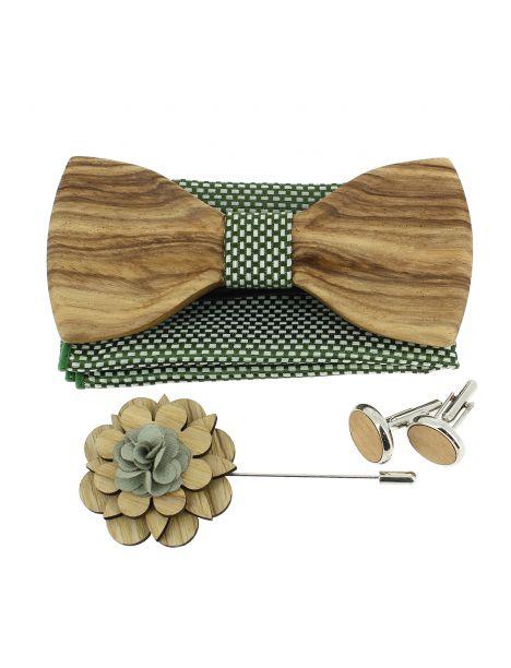 Coffret Manhattan bronze. Noeud papillon en bois avec 3 accessoires. Tony & Paul Noeud Papillon