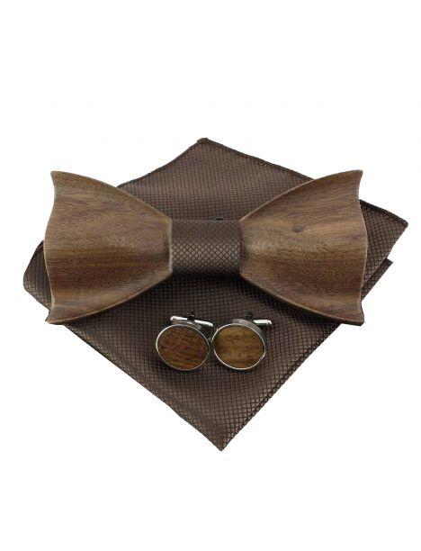 Noeud papillon en bois, boutons de manchette et pochette Clj Charles Le Jeune Noeud Papillon