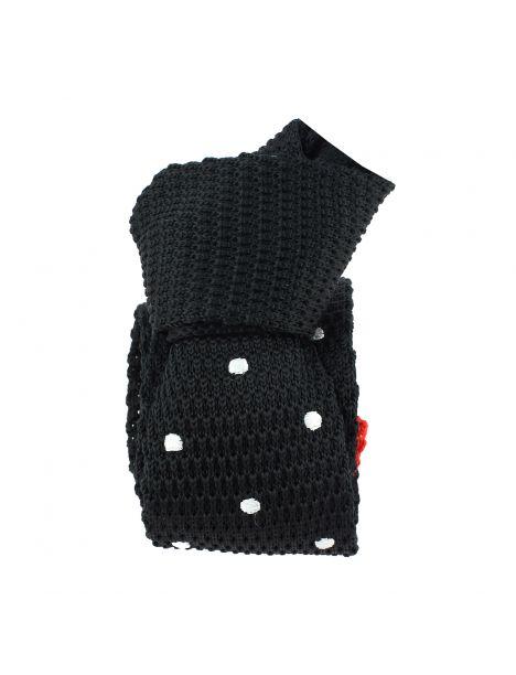 Cravate Tricot. noir et rouge Preppy pois blancs Clj Charles Le Jeune Cravates