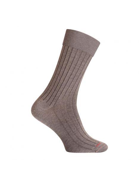 Mi-chaussette gris fer en laine unie à côtes larges, Labonal Labonal Chaussettes