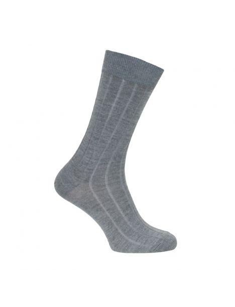 Mi-chaussette grise unie laine et soie, Labonal Labonal Chaussettes