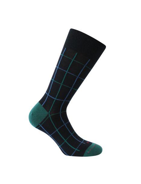 Mi-chaussette noire en laine, fins carreaux, Rétro, Labonal. Labonal Chaussettes