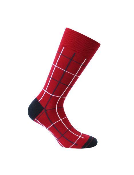 Mi-chaussette rouge en laine, fins carreaux, Rétro, Labonal. Labonal Chaussettes