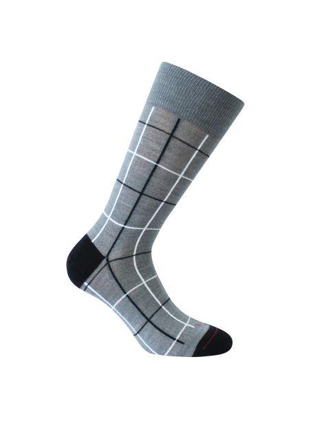 Mi-chaussette grise en laine, fins carreaux, Rétro, Labonal. Labonal Chaussettes