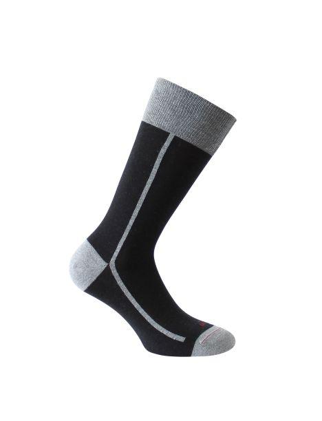 Mi-chaussette noire bicolore, Elegant style, coton bio. Labonal. Labonal Chaussettes
