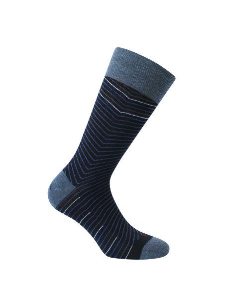 Mi-chaussette noire en laine, chevrons Rétro, Labonal. Labonal Chaussettes