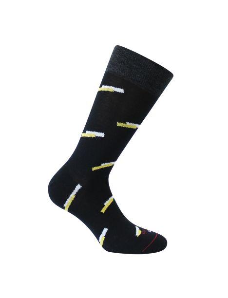 Mi-chaussette noire en laine, double traits Rétro, Labonal. Labonal Chaussettes