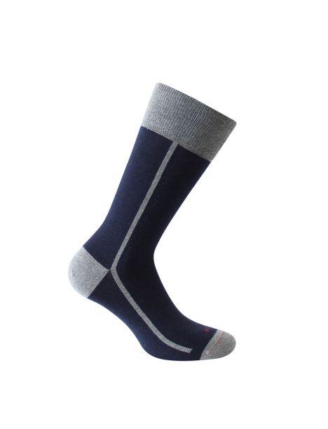 Mi-chaussette marine bicolore, Elegant style, coton bio. Labonal. Labonal Chaussettes