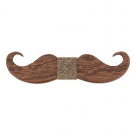 Noeud papillon en bois, Big Moustache marron. Tony & Paul.
