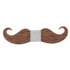 Noeud papillon en bois, Big Moustache taupe. Tony & Paul.