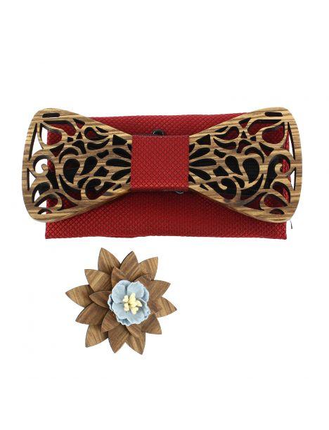 Coffret Volutes sculptées, rouge. Noeud papillon en bois avec 2 accessoires. Tony & Paul Noeud Papillon