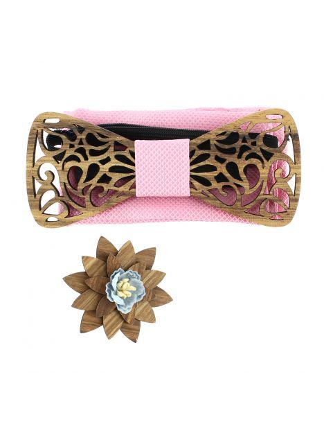 Coffret Volutes sculptées, rose. Noeud papillon en bois avec 2 accessoires. Tony & Paul Noeud Papillon