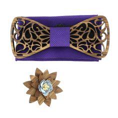 Coffret Volutes sculptées, violet. Noeud papillon en bois avec 2 accessoires.