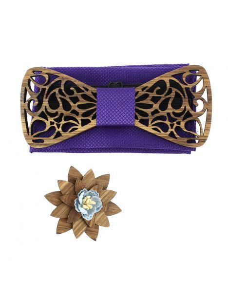 Coffret Volutes sculptées, violet. Noeud papillon en bois avec 2 accessoires. Tony & Paul Noeud Papillon